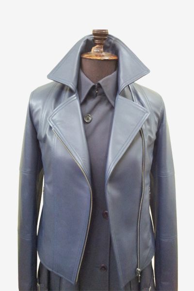 Blue Double Rider Biker Leather Jacket