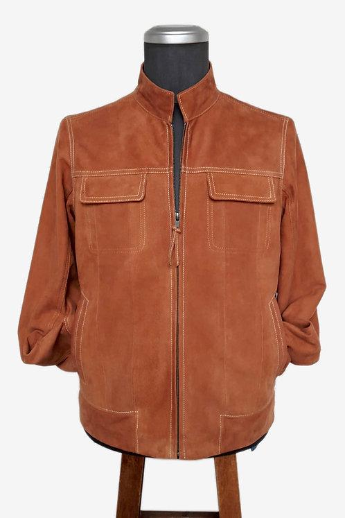Bespoke Camel Coloured Suede Leather Jacket