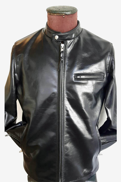 Black Calfskin Leather Racer Jacket