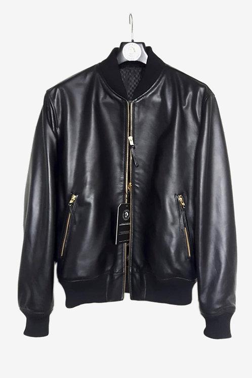Bespoke Black Lambskin Leather Bomber Jacket