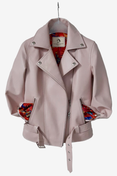 Baby Pink Lambskin Biker Jacket with Patterned Lining