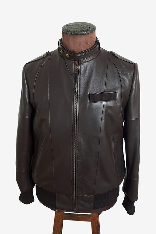 Bespoke Men's Brown Lambskin Racer Jacket