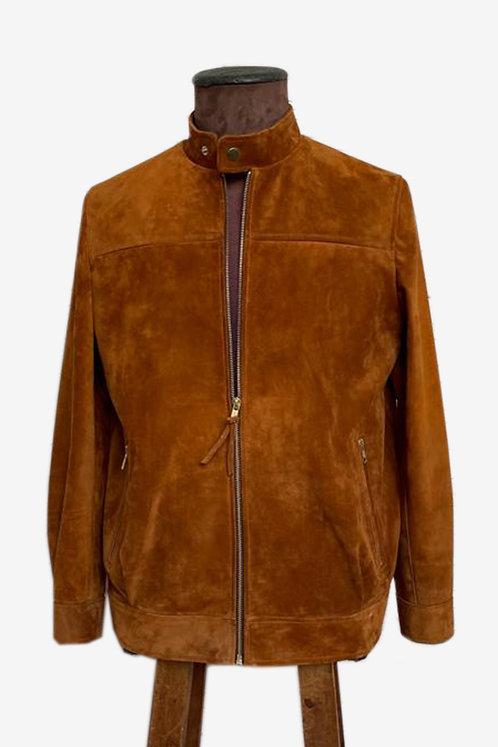 Bespoke Men's Suede Racer Leather Jacket