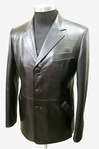 Black Crocodile Pattern Leather Blazer