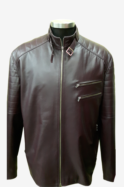 Brown Quilted Leather Racer Jacket