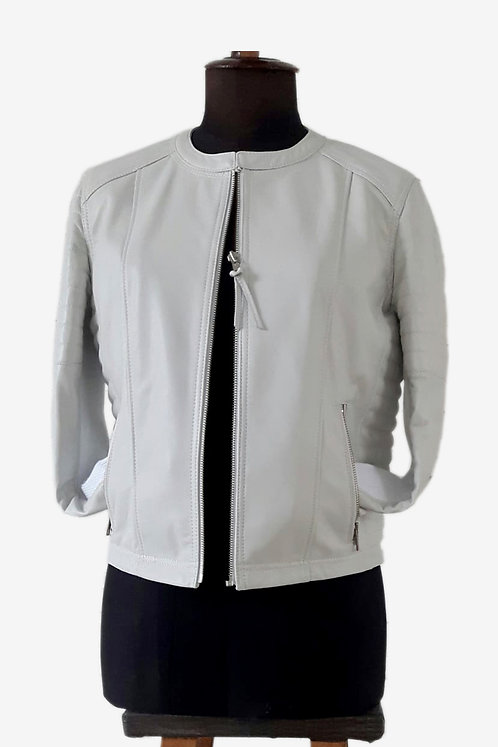 Bespoke White Lambskin Racer Jacket with Quilted Sleeves and Waist
