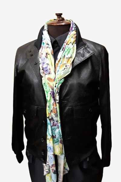 Black Punched Leather Aviator Jacket