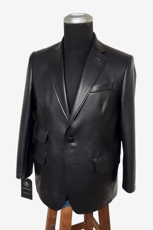 Bespoke Italian Black Fancy Leather Blazer