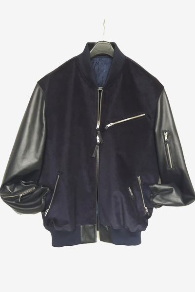 Navy Corduroy and Lambskin Bomber Jacket