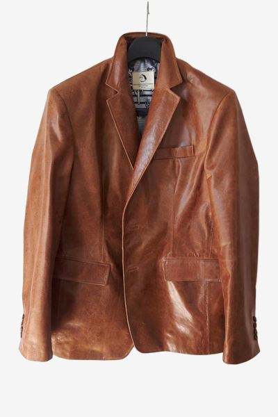 Brown Fancy Leather Blazer