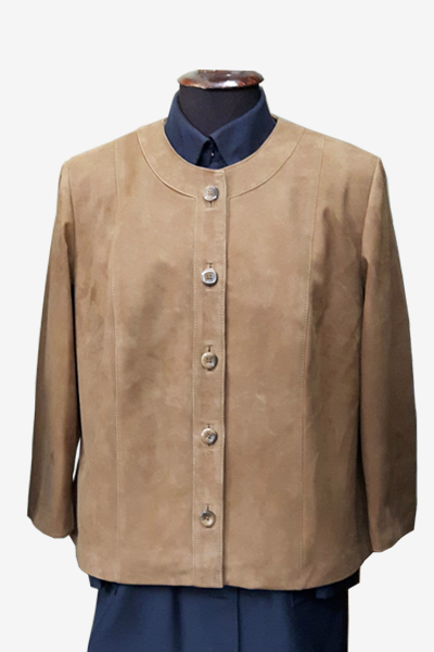 Brown Suede Leather Blouson Jacket