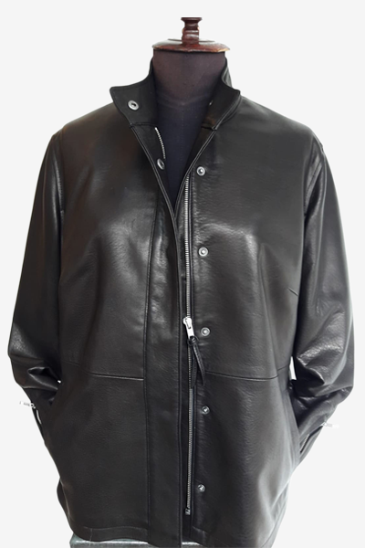 Black Spanish Washed Leather Jacket with Hidden Zipper and Buttons