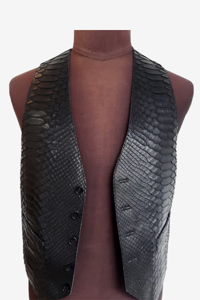 Black Python Leather Vest