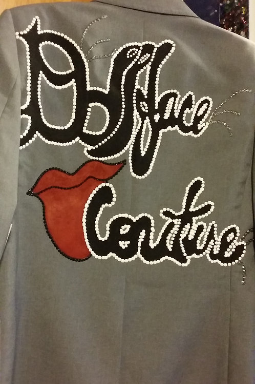 Gray Cotton Blazer with Signature