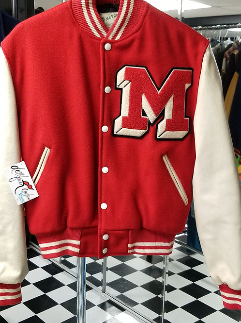 Mmm! Vintage Red and Cream Varsity Bomber Jacket