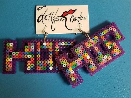 Hip Hop Multi-Purple Earrings