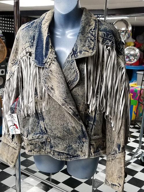 FRINGE! Vintage StoneWash Denim Bomber Jacket