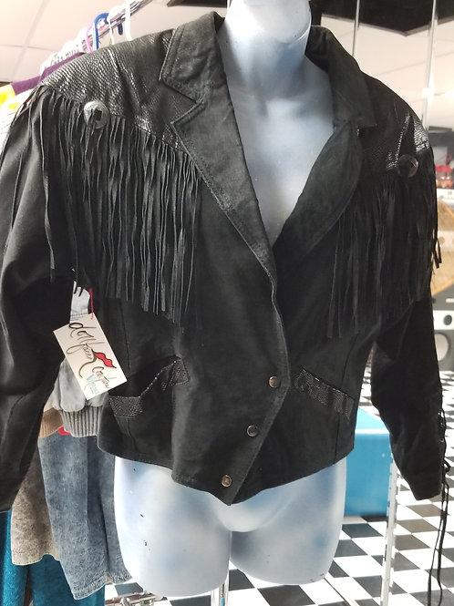 Fringe! Vintage Black Suede Fringe Bomber Jacket