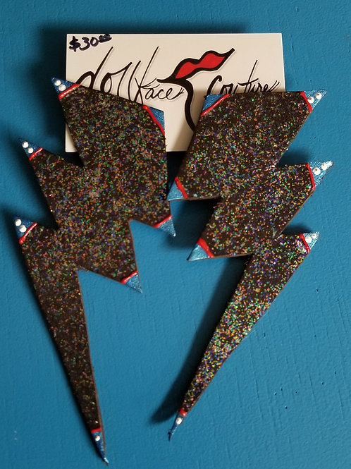 Lightening Strike Black Glitter Earrings