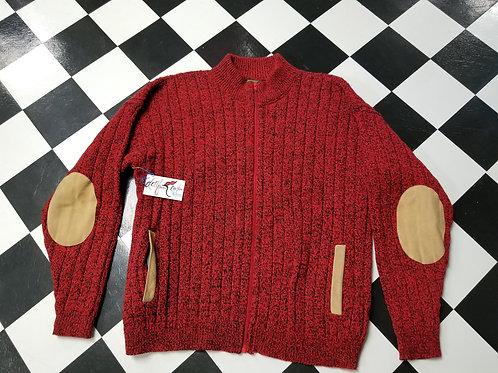 Red n Black Wool Zip Up Sweater