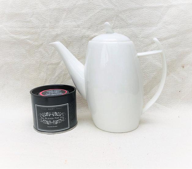 Tetera 900 cc porcelana blanca asa circular