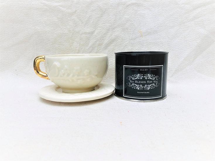Taza de Té con plato asa dorado