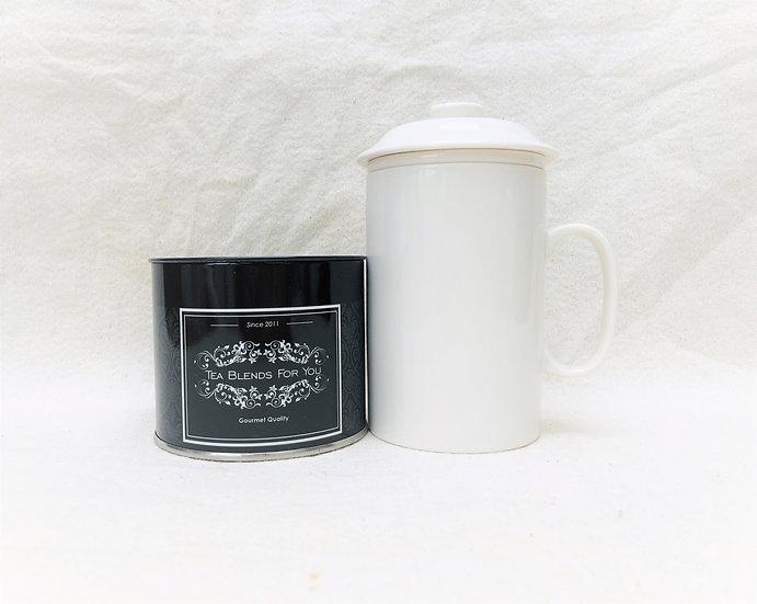 Taza con filtro y tapa blanca