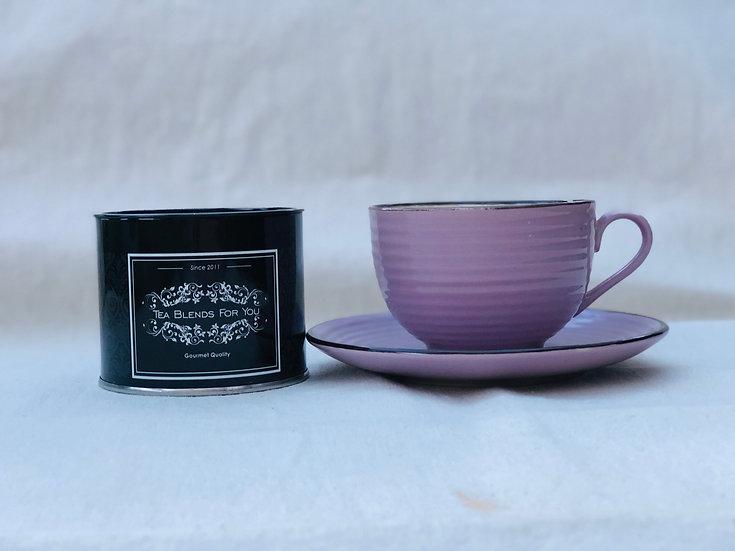 Taza de Té con plato rosa
