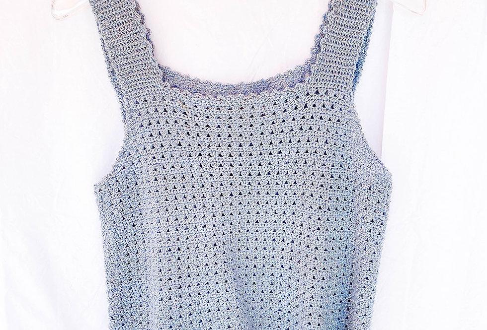 Top en Crochet Bleu Lamé - Taille M