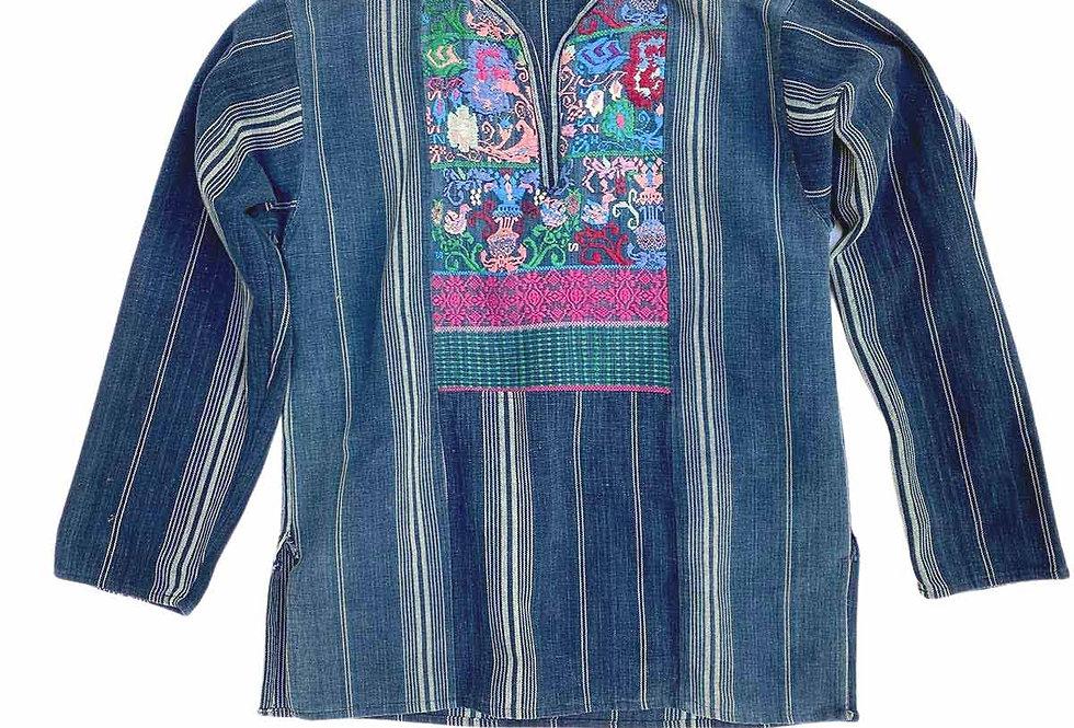 Blouse hippie en jean rayée - Taille S