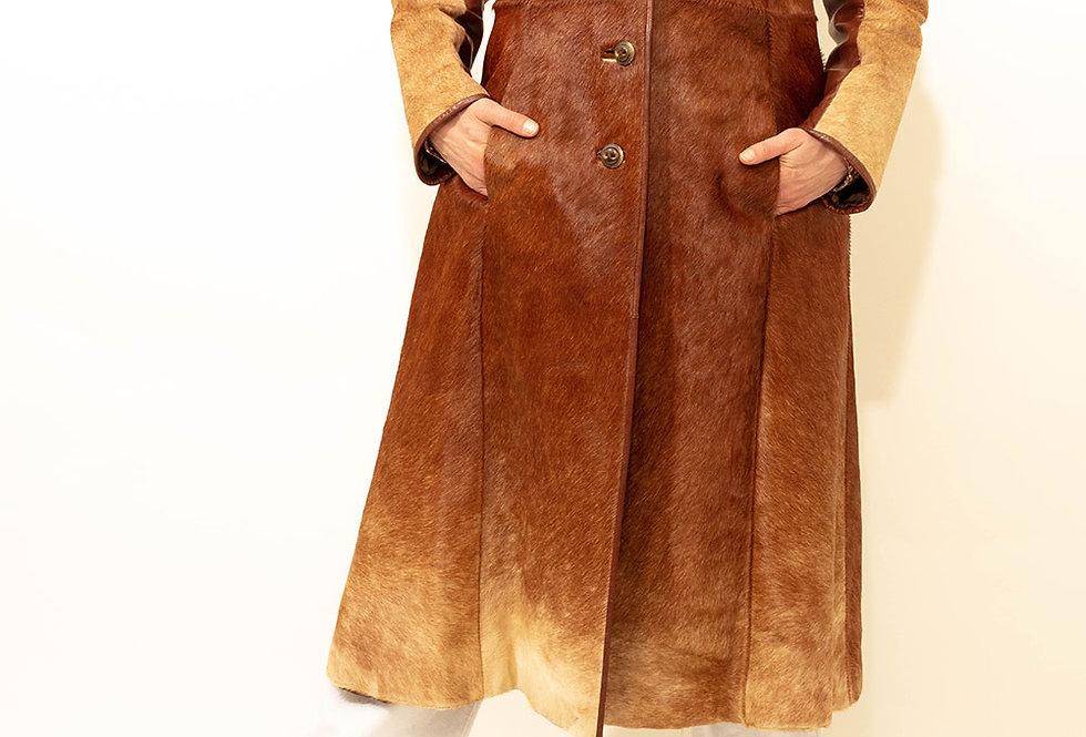 Manteau en Poulain Camel Années 70 - Taille S