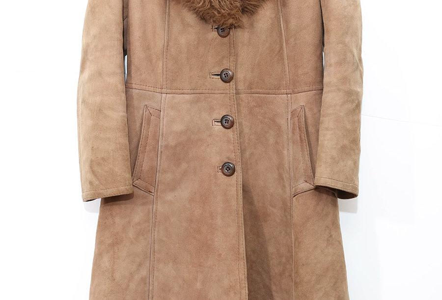 Long Manteau en fausse peau retournée - Taille S