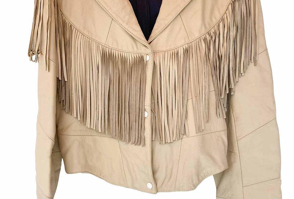 Veste à franges 80s beige - Taille M/L