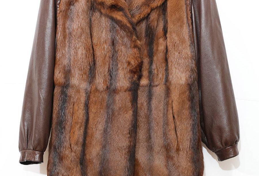 Manteau Cuir & Fourrure Années 80 - Taille M/L