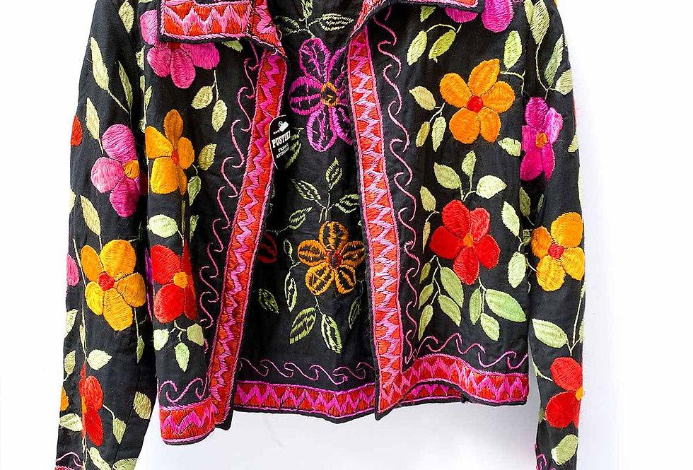 Veste afghane brodée de fleurs - Taille M