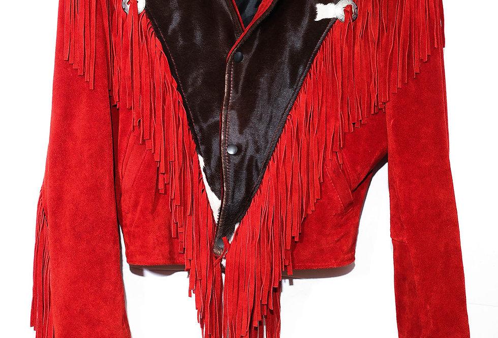 Veste cuir frangée rouge et vache - Taille M