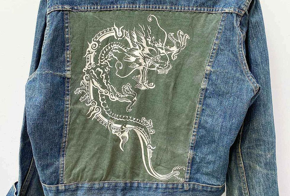 Veste jean custom Dragon kaki - Taille M