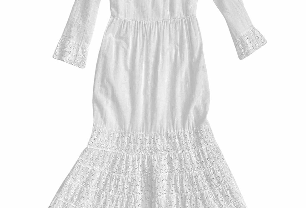 Robe longue blanche broderies anglaises - Taille 36