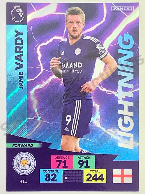 Jamie Vardy Lightning Panini Adrenalyn XL Premier League 2020/21 Leicester City Football Card