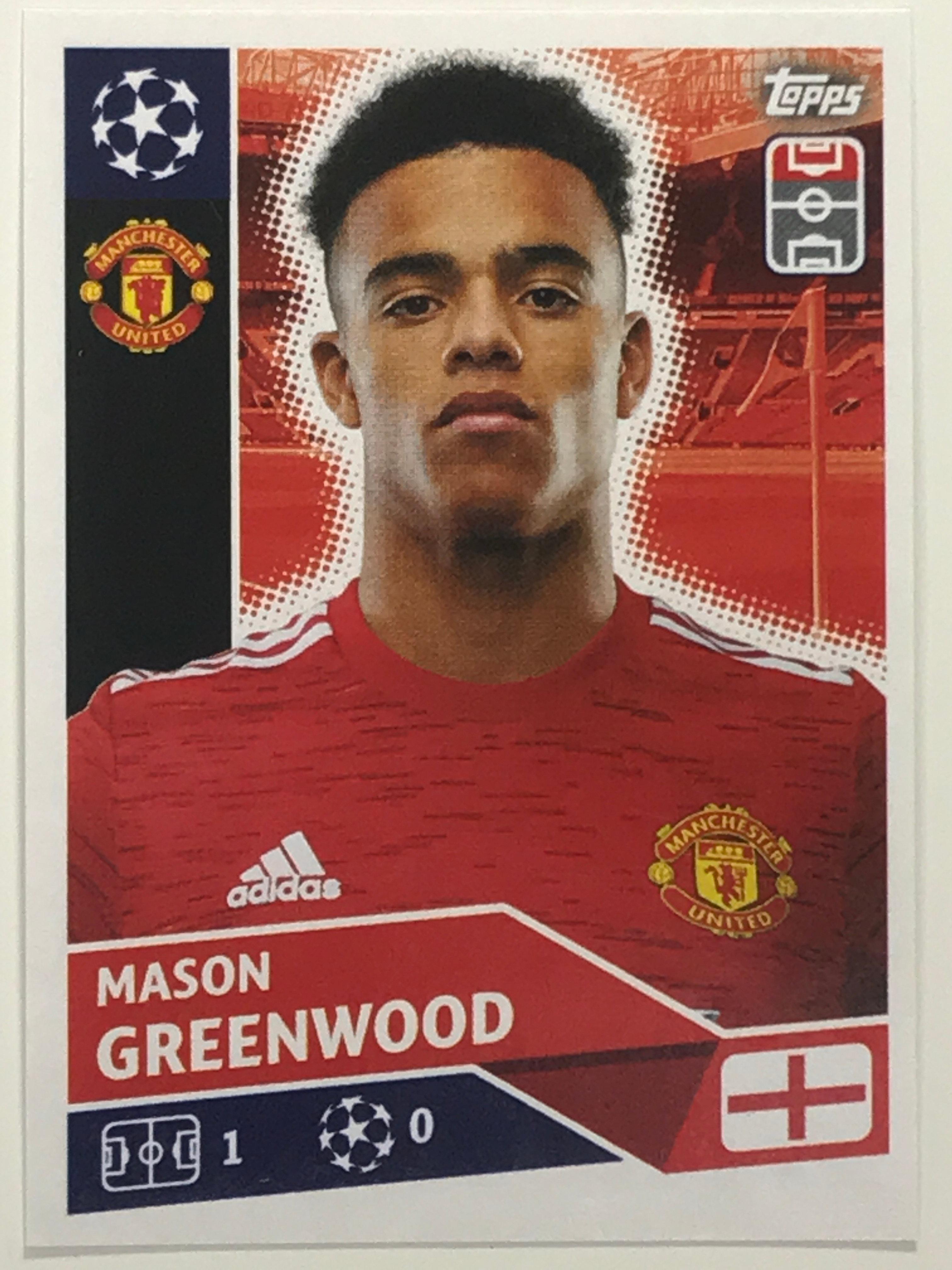 Topps UEFA Champions League 2020//21 Mason Greenwood Autocollant pas de Mun 18