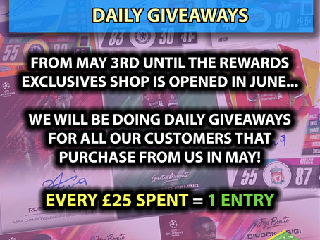 Daily Giveaways leading up to the Rewards Exclusives Shop opening!