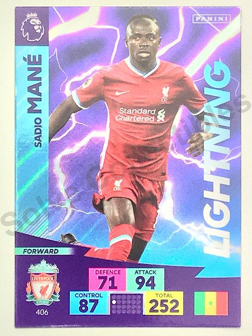 Sadio Mane Lightning Panini Adrenalyn XL Premier League 2020/21 Liverpool Football Card