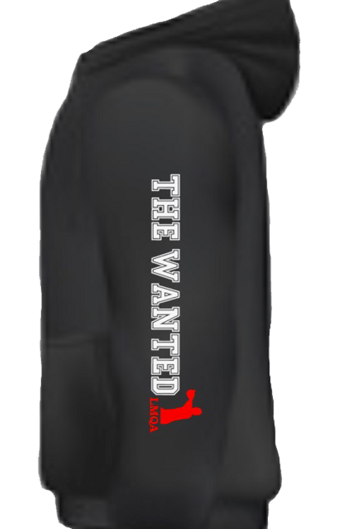 "Black Hoodie w/ Red Centerpiece LMQA Logo o ""The Wanted"" sleeve"