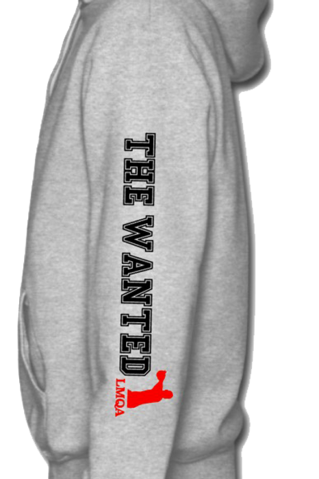 """Gray Hoodie w/ Red Centerpiece LMQA Logo on """"The Wanted"""" sleeve"""