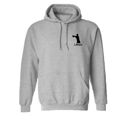 """Gray Hoodie w/ Black LMQA Chest Logo on """"The Wanted"""" sleeve"""
