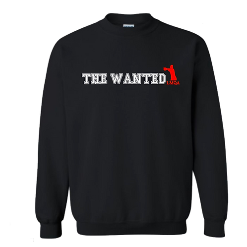 """Black """"The Wanted"""" Crewneck w/ Red Logo"""