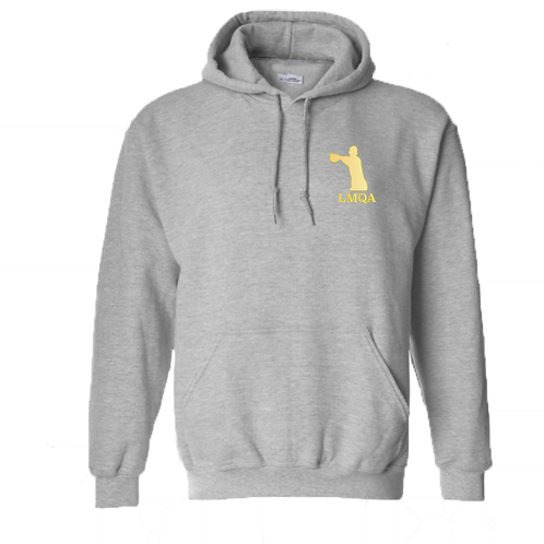"""Gray Hoodie w/ Gold LMQA Chest Logo o """"The Wanted"""" sleeve"""