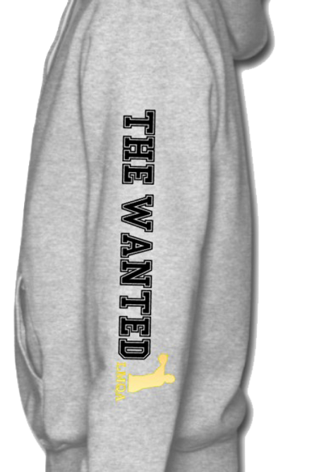 """Gray Hoodie w/ Gold Centerpiece LMQA Logo on """"The Wanted"""" sleeve"""