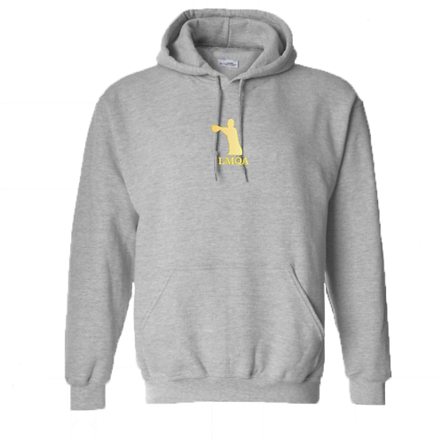 """Gray Hoodie w/ Gold LMQA Chest Logo on """"The Wanted"""" sleeve"""