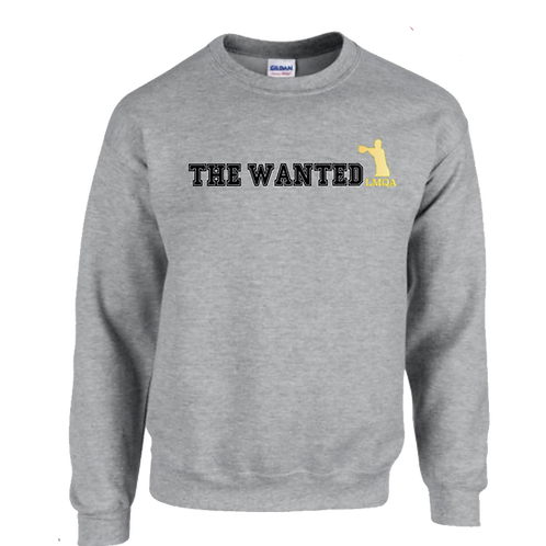 """Gray """"The Wanted"""" Crewneck w/ Gold Logo"""
